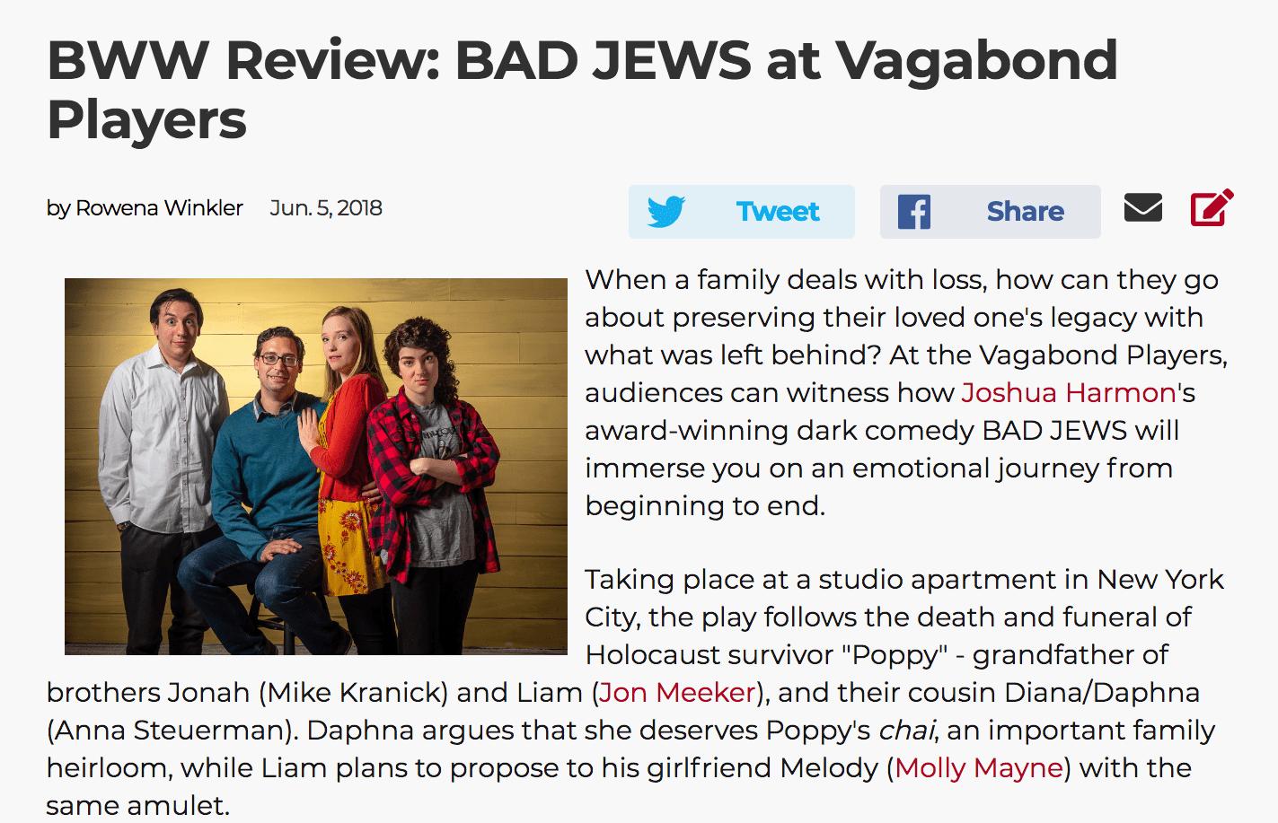 Bad Jews BWW Review